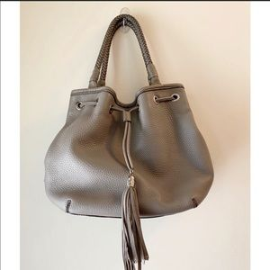 Cole Haan Leather Hobo Purse. Taupe/Grey